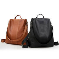 Women's Leather Backpack Anti-Theft Rucksack School Shoulder Bag Black/Brown