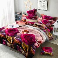 Luxury 3D Effect Print Duvet Cover & Pillowcases Bedding Set Single Double