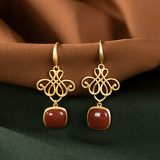 F02 Earring Silver 925 Elegant Gilded Knot and Red Agate