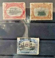 STATI UNITI 1901 ESPOSIZIONE PAN AMERICANA 3 FRANCOBOLLI TIMBRATI USED (C.5A)