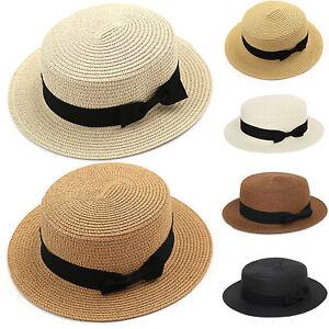 Womens Straw Hat Beach Bowler Boater Sun Cap Panama Style Floppy Fedora Travel