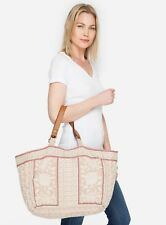 Johnny Was Embroidered Letty Beige Linen Tote  Bag #3861JW New Boho Chic