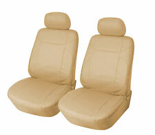 Leather Like 2 Front Car Seat Covers for Toyota 153 Tan