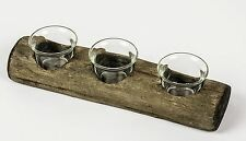 Rustic Tea Light Candle Holder 3 Glass Votives in Wooden Log Wedding Decoration