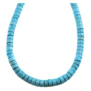 Blue Turquoise Necklace Heishi 10mm 6mm 4mm 20 Inches
