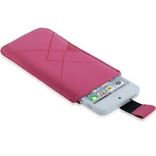 FUNDA IPHONE 5S 5 4S 4 3GS 3G ROSA FUCSIA OX ATERCIOPELADA SLEEVE PULL-UP