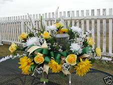 Landscape Solar Light Headstone Tombstone Saddles Gravestone Decor Silk Roses