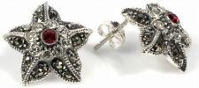 Exotic Tropical Flower Marcasite Stud Earrings Silver 925 Elegant Jewelry Gift
