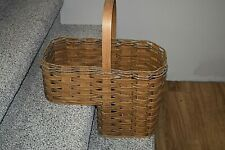 Large Sturdy Woven Wicker Stair Step Basket With a Wooden Fixed Handle Solid