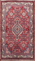 Excellent Vintage Geometric Hamedan Hand-Knotted Area Rug Traditional Carpet 4x6