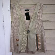 LEE ANDERSEN A-line sand art vest/USA/cotton,rayon,linen, silk/NWT/M