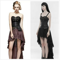 PUNK RAVE Steampunk Lace Pleated Elegant Retro Tube Top Asymmetric Hem Dress