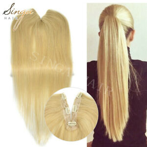 Human Hair Ponytail Extension Natural Thick Straight Hairpiece Clip In Pony Tail
