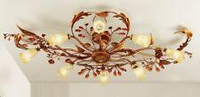 Plafoniera classica 8 luci in metallo oro ricco e vetri coll. Dese 4015-8PL
