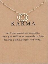 """KARMA Circle Necklace, gold dipped Inspirational Gift 16-18"""" forever love wish"""