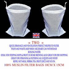 100% mousseline de deux petits Filtre Sacs-Kefir-Écrou Lait -10 cm x 15 cm = £ 3...
