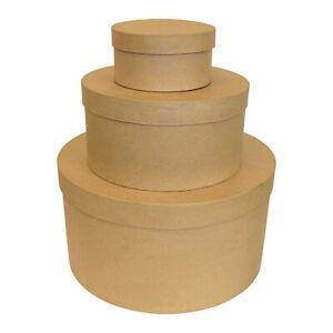 3er Set runde große Schachteln zum bemalen bekleben basteln verpacken