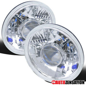 "7"" Round Sealed Beam Projector Headlights Lamps w/ T10 City Lights+H4 Bulbs"