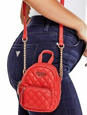 GUESS Handbag Women's Small Quilted Faux Leather Logo Crossbody Bag Red Gold NWT