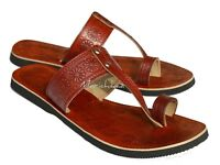 Handstamped Women Leather Sandal Christian Sandal Ladies Brown Toe Strap Slipper