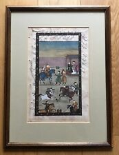 Old Vintage Framed Middle Eastern Anglo Indian Islamic Painting With Script Edge