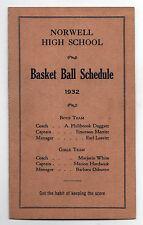 Rare 1932 NORWELL HIGH SCHOOL Basketball Schedule MASSACHUSETTS Sports ATHLETICS