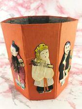 Vintage Hong Kong Silk Fabric Collapsible Waste Paper Basket No. 501 Orange