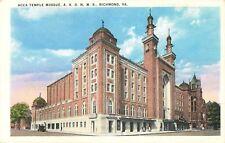 c1920 ACCA Temple Mosque, Shriners, Richmond, Virginia Postcard