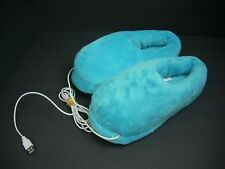 NEW USB Heated Slippers Turquoise Furry Heating Warm Slippers Comfortable Shoes