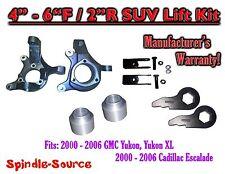 """00-06 GMC Yukon 1500 XL 1500 Escalade 2WD 4-6"""" / 2"""" Lift Kit Spindles Keys Ext"""