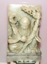 Antike Speckstein-Schnitzerei -  Fu Lu Shou  Glücksgott - 17,8 cm - 2024 g