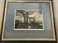 "T. Robert ""VIII Les Docks"" Etching Print, Numbered & Sighed, 11/60, Framed"