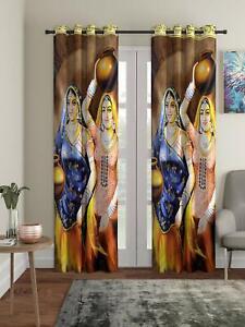 New 2 Piece Eyelet Long Door Curtain Set - 9 feet Multicolor