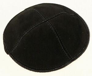Stylish Black Leather Suede Kippah Yarmulka Jewish Kippa Flat Yamaka Kipah Kipot