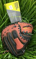 NEW EASTON YOUTH MAKO BASEBALL CATCHERS MITT BLACK & BROWN WITH ORANGE STITCHING