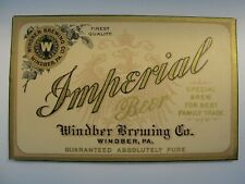 Windber Brewing Imperial Beer Label Pre Prohibition Windber Pa