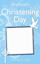 1 X PERSONALISED CHRISTENING DOOR BANNER WITH PHOTO BLUE