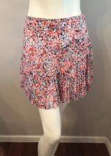 Stunning Banana Republic Red White Blue Floral Pleated Chiffon Mini Skirt Size 0