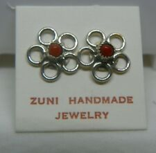 Zuni Sterling Silver Red Coral Flower Stud Post Earrings