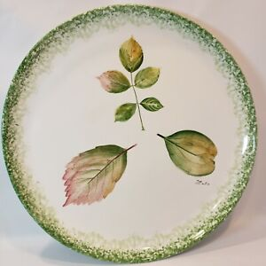 """Bassano Real Leaves Imprinted Ceramic Plate 13 3/4"""" Pier 1 Hand Painted"""
