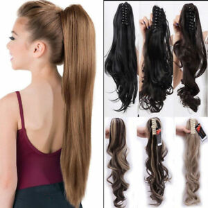 Mega Thick Claw Clip in Pony Tail Hair Extensions Extention Jaw On As Natural lk