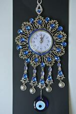 Turkish Nazar Glass Evil Eye Wall Clock Hanging Charm with Blue Stones  39 cm