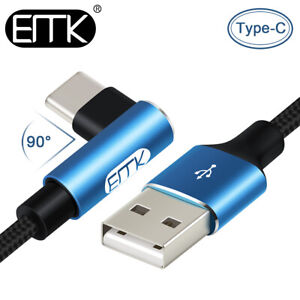 EMK Type C USB-C Fast Charge Data Sync 90 Degree Right Angle Charger Cable 1ft