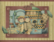 DEBBIE MUMM RAGGEDY ANN AND ANDY WITH BLACK CROWS/ WATERING CAN WALLPAPER BORDER