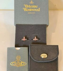 Vivienne Westwood rose gold Nano pink Crystal Solitaire Earrings New With Box