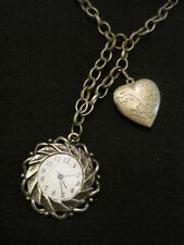 """Brass Tone Heart Locket and Faux Clock Necklace 30"""" with 3"""" Drop"""