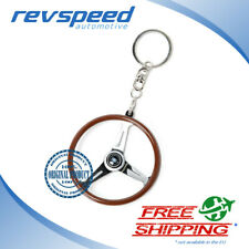 NARDI ND Genuine Keychain Keyring Classic Steering Wheel Wood Glossy Spokes