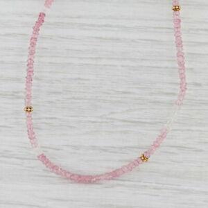 New Nina Nguyen Harmony Necklace Pink Topaz Bead Long Sterling Gold Vermeil