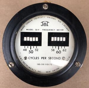 Vintage JBT by Triplett Frequency Meter Model 30-F Gauge 48-62 Cycles 100-130V