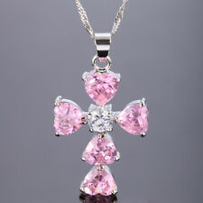 Wedding Jewelry Heart Pink Sapphire 18K White Gold Plated Pendant Necklace